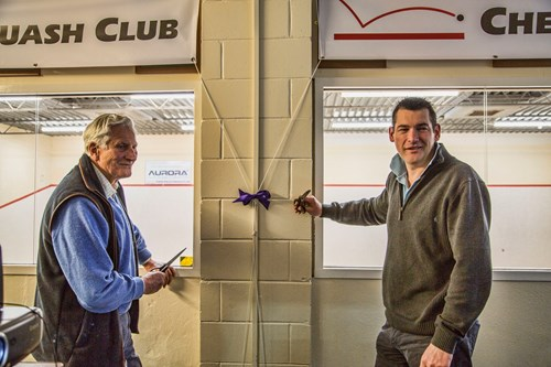 The cutting of the ribbon by John Eke (left), the very first winner of the Gadsden Cup in 1975, and John Thompson, the reigning Club Champion
